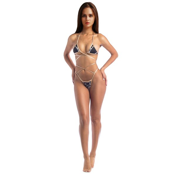 2018 2pcs one set European and American sexy triangular-covered lace boobs with a stylish one-piece swimsuit with free shipping by DHL