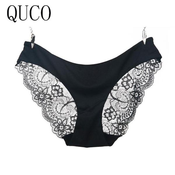 QUCO Brand Fashion lace panties sexy seamless cute women underwear cotton plus size lady briefs hot sale W1#005