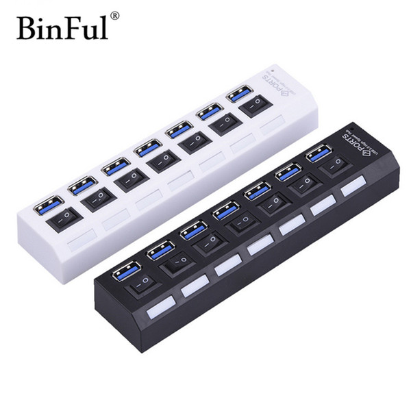 BinFul USB 3.0 Hub 7 Ports 5Gbps High Speed Hub usb Portable With On/Off Switch Splitter Adapter Cable For PC Laptop