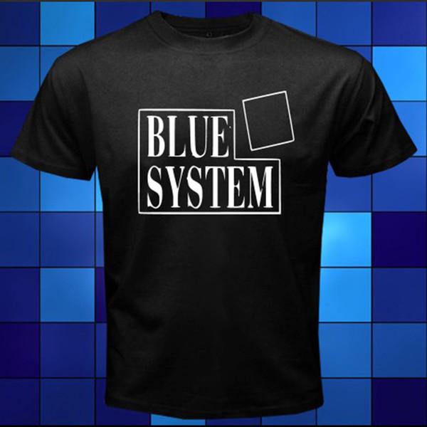 Новый синий логотип системы 80-х 90-х годов поп-группа Черная футболка размер SML XL 2XL 3XL рубашка мужская смешные с коротким рукавом Crewneck хлопок плюс размер группы тройник