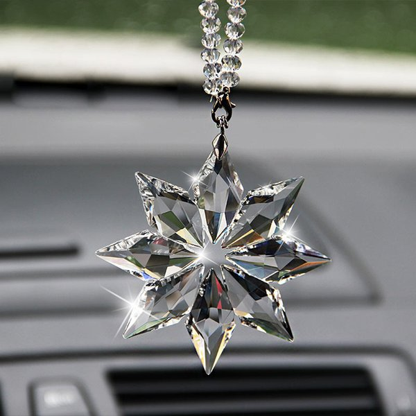 Christmas Gift Transparent Crystal Large Snowflakes Ornaments Sun Catcher Snowflake Clear Crystals Car Pendant Edition Ornament