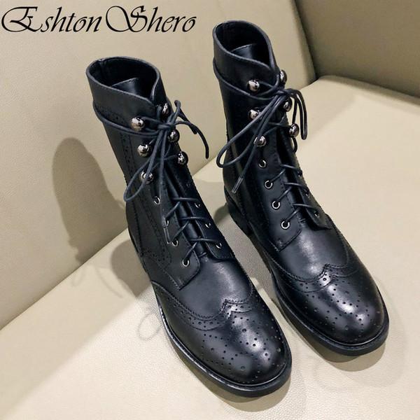 Acheter EshtonShero Femmes Cheville Bottes Chaussures Femme Talons Bas En Cuir Véritable + PU Lacet Plate Forme Noir Dames Moto Boot Taille 3 9 De