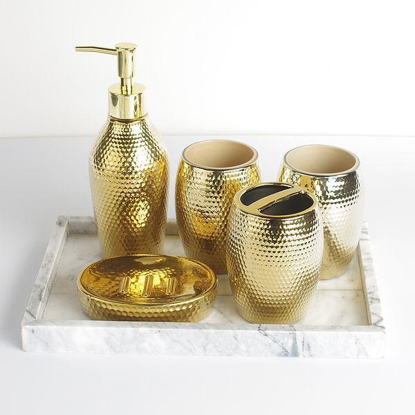 5 pcs set escova de Lavagem Doméstica copo, Dispensadores de Sabão Líquido, Saboneteiras de moda goldern acessórios do banheiro de cerâmica set
