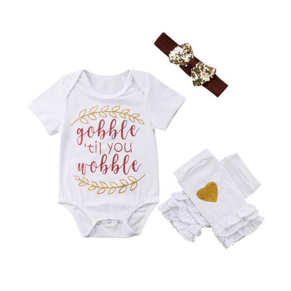 Vêtements bébé nouveau-né bébé enfant fille imprimé coeur Legging Bow sequin bandeau col rond manches courtes Body 3pc coton Outfit