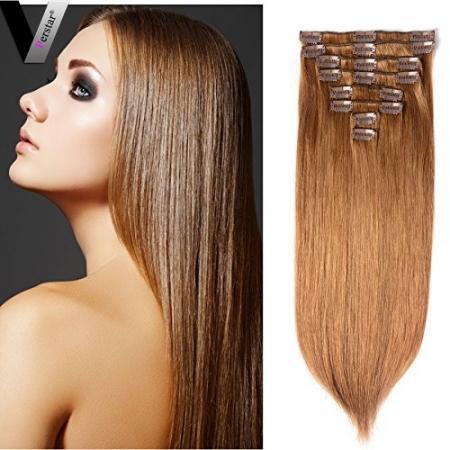 Perstar Clip recto en extensiones de cabello 8 piezas 18 clips 8A Light Chestnut Brown Remy Brasileña Cabello humano Doble Trama fuerte