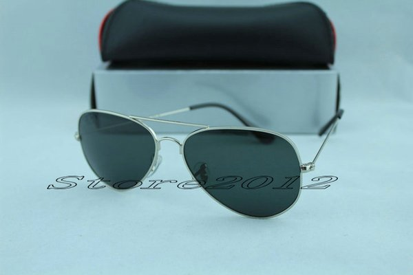 Hot sell 1pcs Designer Classic Pilot Sunglasses Mens Large Metal Sun Glasses Eyewear Silver Black 58mm and 62mm Glass Lenses With Box