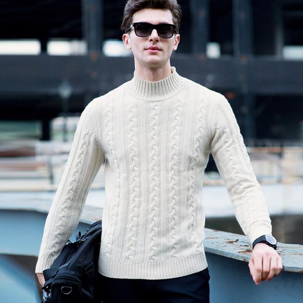 MACROSEA Metade da Gola Alta Blusas de Lã dos homens de Alta Qualidade Clássico Cabo de Tricô Pullover Casuais Camisola Roupas de Marca dos homens