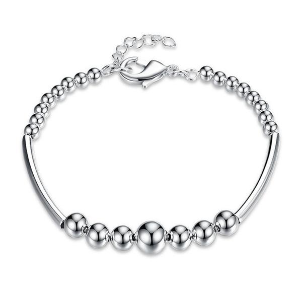 Top vente! Femmes mode branché perlé Bra925 bracelet en argent JSPB646; bas prix fille femmes argent sterling plaqué perlé, brins bracelets