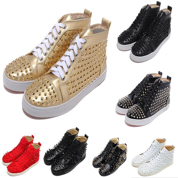 Fashion Designer Marque clouté Spikes chaussures Flats Chaussures de fond rouge pour les hommes et les femmes Party Lovers Sneakers en cuir véritable