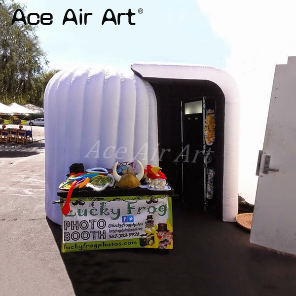 Portable inflatable spiral photo booth enclosure,igloo selfie photo station with lights dome tent for shopping center