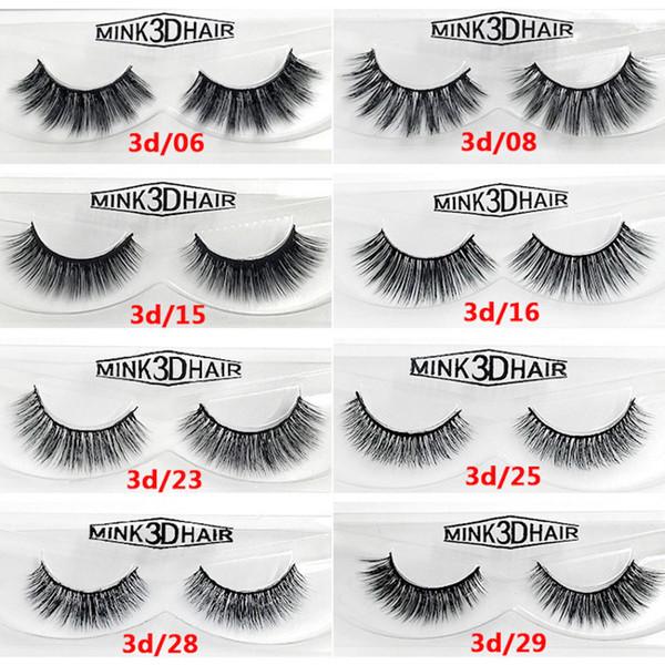12 styles 2pcs/pair 100% Real Siberian 3D Mink Full Strip False Eyelash Long Individual Eyelashes Mink Lashes Extension 2 sets drop shipping