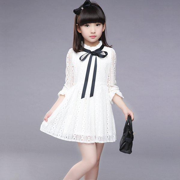 070483f39dbc3 2019 2017 Girls Dress New Summer Children Hollow Out Lace Princesess Solid  Cute Party Junior School KIds Clothes Baby Dress From Sto3, $22.62 | ...