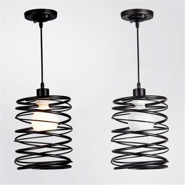 American Art Creative Retro Vintage AC E27 Pendant Lights Spring Iron Hanging Pendant Lamp Indoor Black Lamp