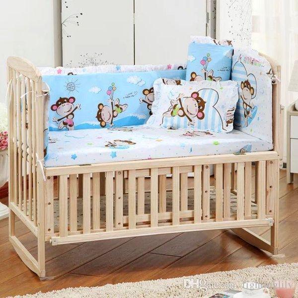 2018 5 Pcs/sets baby beding set Animal Baby Crib Set Quality Printed Curtain Crib Bumper 100*60cm Washable Baby Bed Bumper