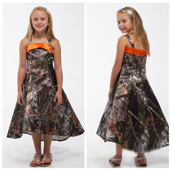 2018 Vintage Spaghetti Full Satin Camo Flower Girl Dresses High Low Cheap Sale Camouflage Real Tree Short Kids Formal Wear