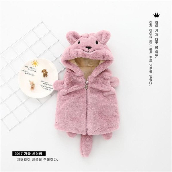 2018 newborn baby novelty bear hooded cute cartoon thick cotton baby vest children girl winter clothes outwear waistcoat 0-4t thumbnail