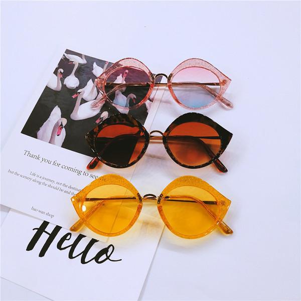 2018 Hip Hop Style Metal Lip Shape Cat Sunglasses Women Sexy Cute Yellow Pink Glitter Shiny Glasses Clear Party sunglasses FML