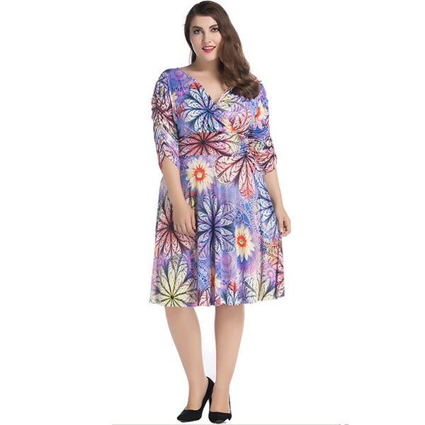 6XL 7XL Plus Size Wrap Dress Summer Women Sexy V Neck Floral Print Midi Dress Ruched Half Sleeve Pleated Flared Dress Purple
