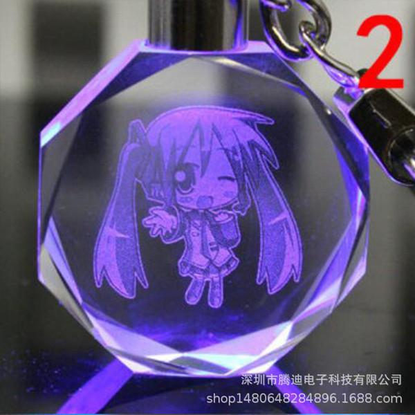 Cartoon lovely Hatsune Miku keychain snow MIKU fairy LED Light Crystal Pendant Key chain ring kid Child party Package Chaveiro
