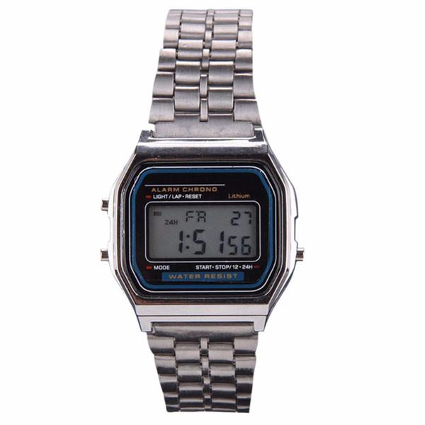 Модные золотые серебряные часы мужские винтажные часы электронный цифровой дисп