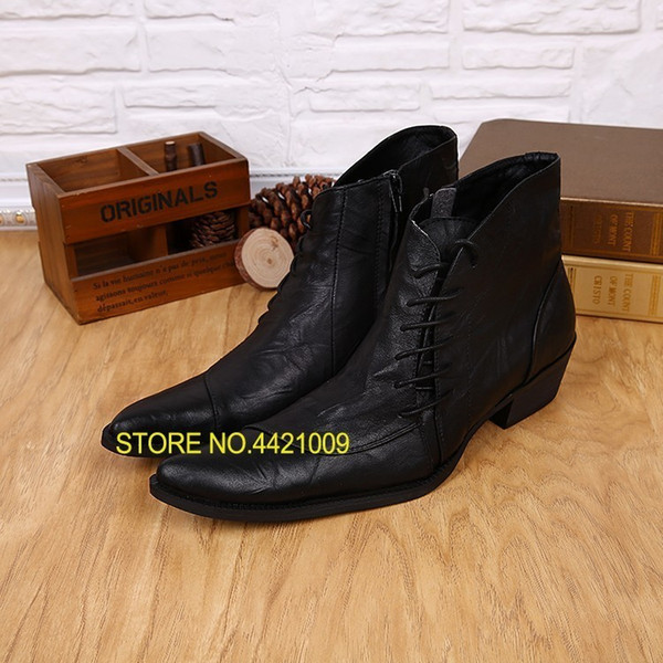 2018 Western Style Mens Ankle Boots Low Cowboy Boots Pointed toe lace up Black high top Men Military Work Men Shoes