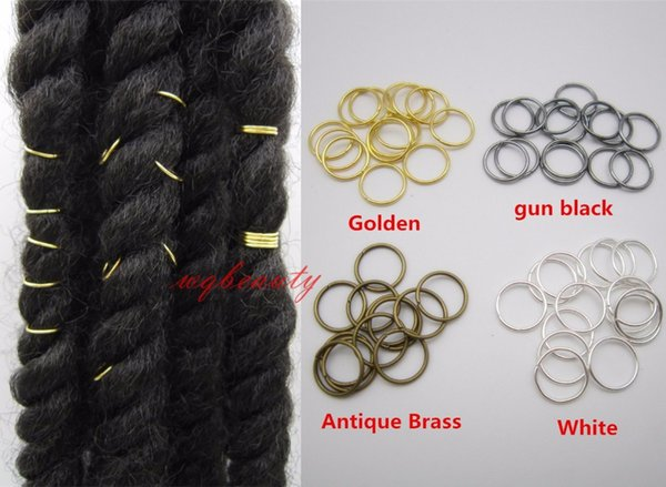 20pcs/lot #golden#White #gun black#Antique Brass hair braid dreadlock bead cuff clip Braid Hoop Circle approx 10mm inner hole