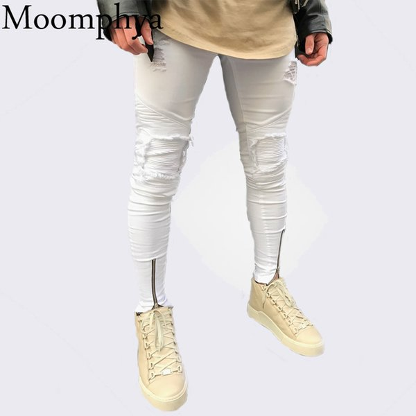 2018 New design Men zippers jeans Distressed Ripped holes patchwork jeans men Skinny hip hop white for