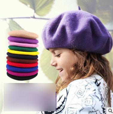 Meninas boina de lã crianças 39 cores pintor chapéu primavera meninas princesa acessórios de moda crianças misturas de lã beanie gorro bebê R2636
