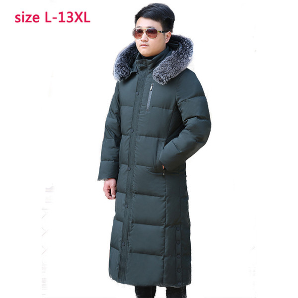 high quality super large Thickening filler 500g Down Coat Real Wool Collar Hat Winter Men luxury Thick plus size L-11XL12XL13XL