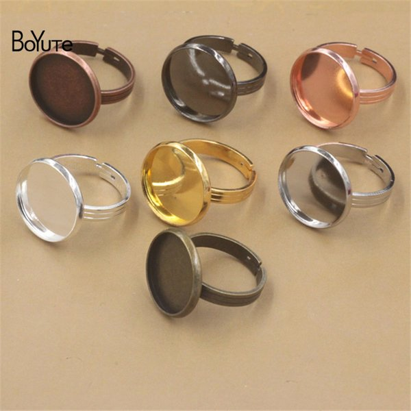 BoYuTe 20Pcs 7 Colors Round 10 MM 12MM 14MM 16MM 18MM 20MM Cabochon Base Ring Adjustable Diy Jewelry Findings Components