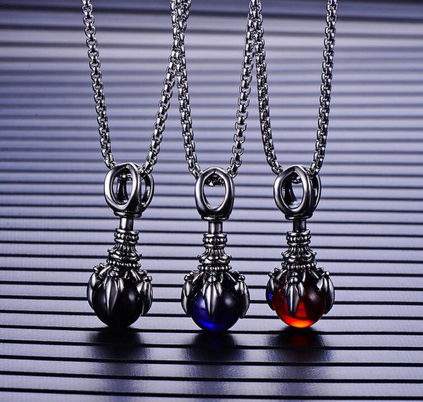 Collar de estilo gótico Garra perlas de los hombres colgante collar - Vintage acero inoxidable colgante para hombre collares accesorios de moda 3 colores