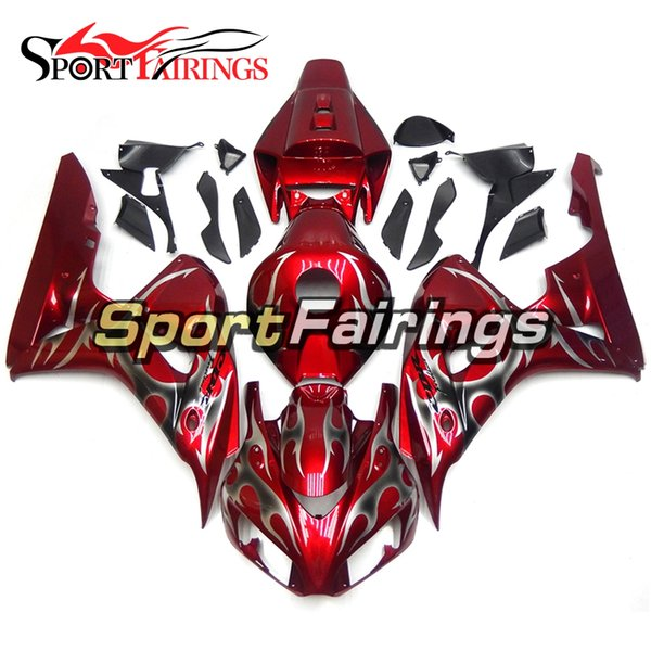Red Silver Flames Fairings For Honda CBR1000RR 06 07 2006 2007 Year CBR1000 RR 06 Injection ABS Plastic Body Kit Covers
