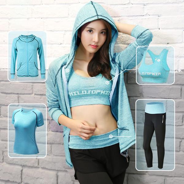 Women Yoga Sets 4 pcs Breathable Sportswear Fitness Suits Sports Bra Running Shirt Jacket Jogging Trainning Pants shorts