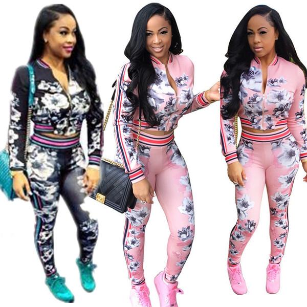 Autumn Winter Floral Tracksuit for Women Flower Print Crop Jacket + Pants Leggings 2 Piece Sweatsuit Sportswear Striped Hoodie Outfit Pink
