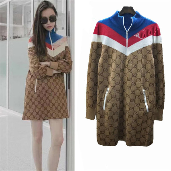 2019SS New Designer Technical Jersey Dress Wool Silk Multicolor Viscose Women Knitted Shirt Coat Outwear Sport Wear Long Street Style Dress