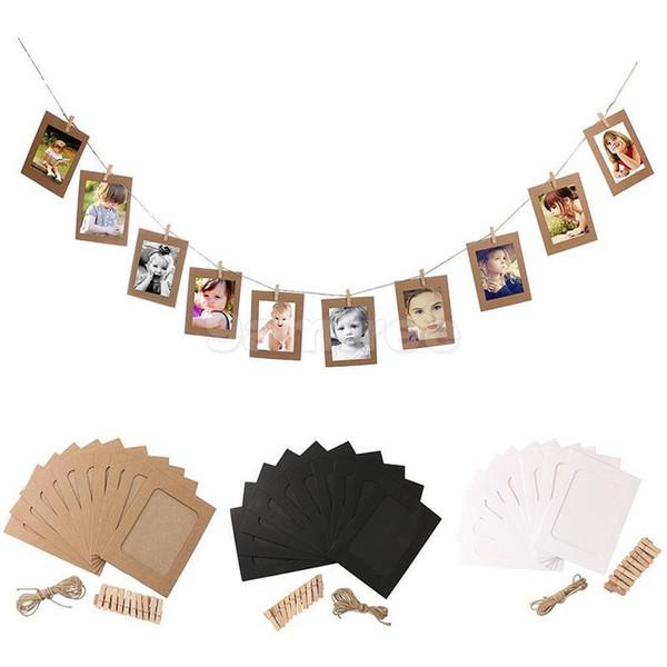 Vintage Paper Photo Frame DIY Wall Picture Hanging Album Rope Clip Set Decor
