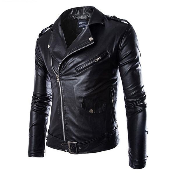 best selling Men's Leather Jacket Fashion Brand Coat 2018 men Biker Jacket Homme Jaqueta De Couro Masculina PU Leather Mens Punk Veste Cuir