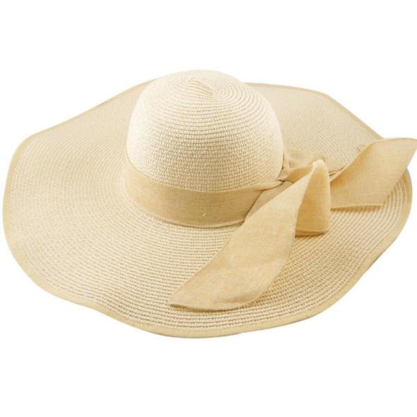 ¡VENTA CALIENTE! Sombrero del sol del sol de la playa del verano del doblez del ala ancha plegable grande del ala plegable para mujer