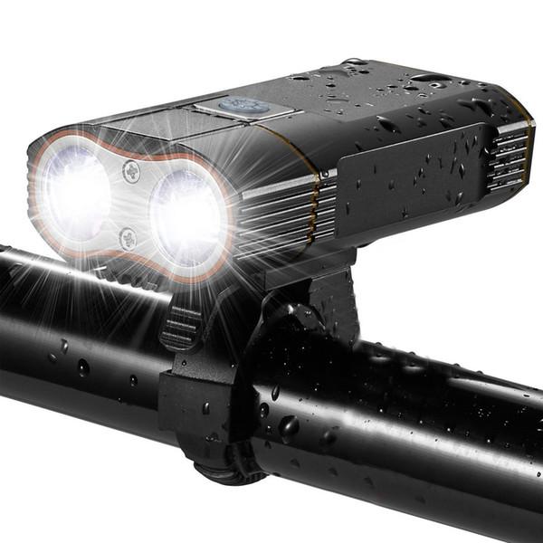 3000 люмен велосипед свет LED USB аккумуляторная велосипед передний свет 2X XML-T6 Велоспорт лампы 18650 батареи горный велосипед аксессуары Y1892809