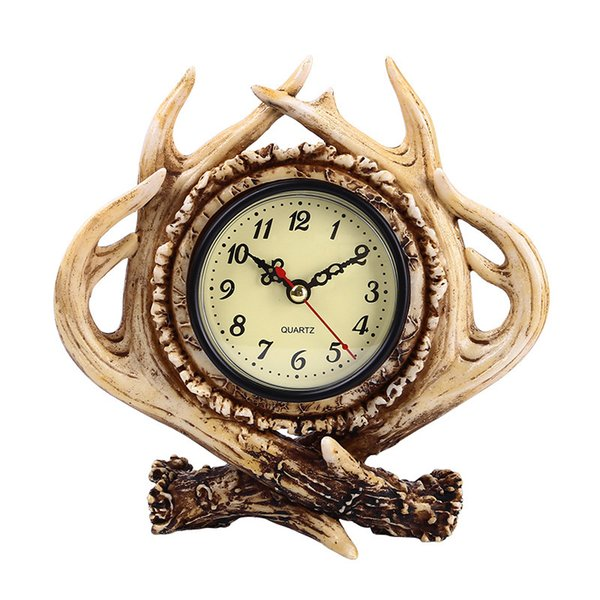 Creative Deer Antler Design Resin Table Clock - American Country Style Vintage Tabletop Desk Clock - Living Room Home Office Decor