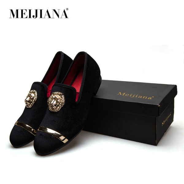 best selling Fashion Gold Top and Metal Toe Men Velvet Dress shoes italian mens dress shoes Handmade Loafers
