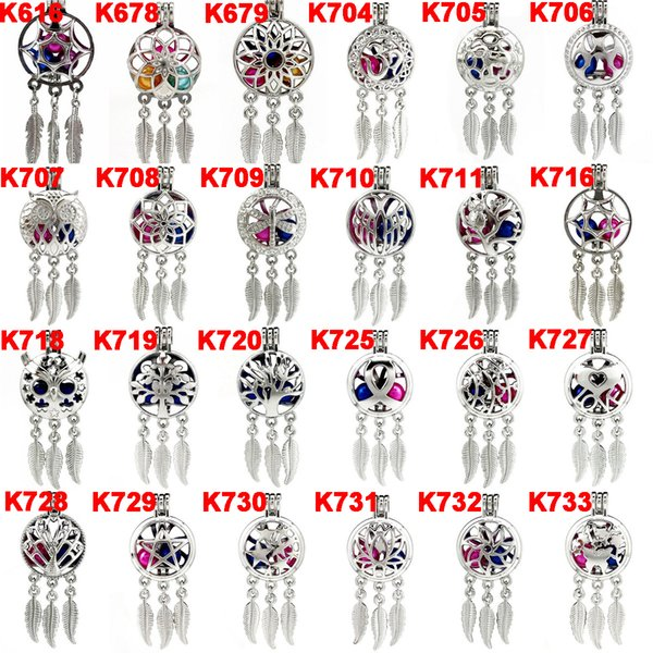 top popular Silver Alloy Mix Dream Catcher Beaty Feather Beads Cage Locket Pendant Diffuser Aromatherapy Perfume Essential Oils Diffuser-Boutique gift 2021