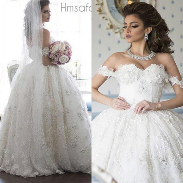 Glamorous Floral Flower Saudi Arabia Wedding Dresses Ball Middle East Plus Size Arabic Dubai Country Style Western Bridal Gowns Vestios Ball
