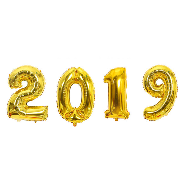 big size 40 inch painting by numbers 2019 foil balloons set happy new year's eve parties metallic helium balloon wedding decorations
