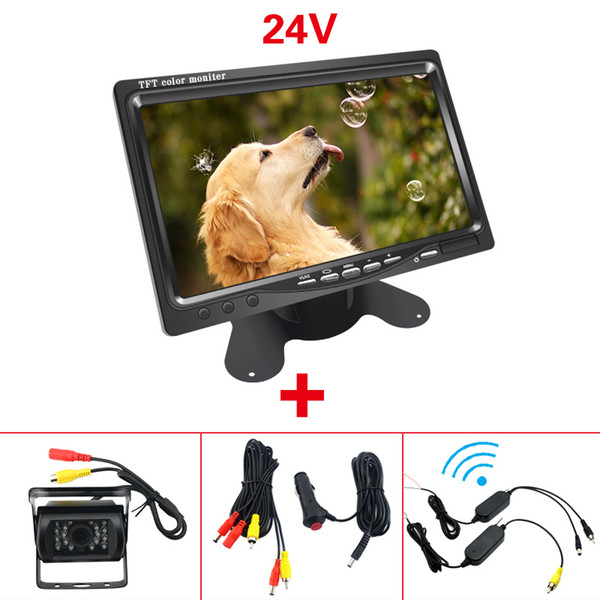 """wholesale CAR DC 9V-36V Bus Truck 7"""" LCD Monitor With Rear View Parking Camera Video System 2.4G Wireless & Cigarette Lighter Optional #5438"""