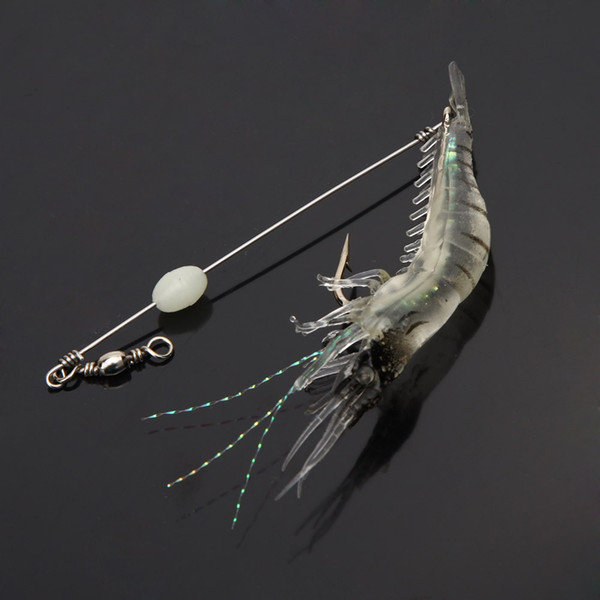 H10881W 18cm 8g Artificial Fishing Lure Bionic Shrimp Soft Bait Fishing Tackle with Hook Noctilucent