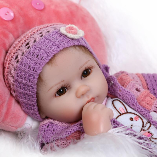 "NPKCOLLECTION 16"" 40cm Bebe Bouquets Doll soft cloth body lovely baby girl with little purple suit Silicone Reborn Baby Dolls"