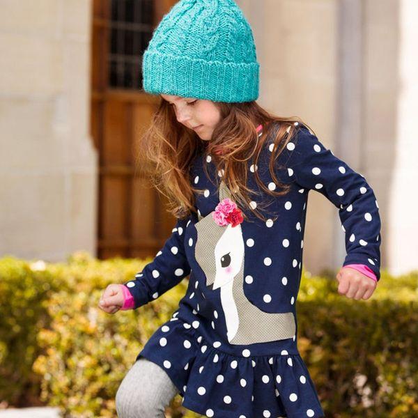 Girls Children Dot Deer Appliqued Cartoon Ruffles Long Sleeve Dresses For Baby Kids Toddlers Flowers Deer Design Cloth Dress Skirts Wear