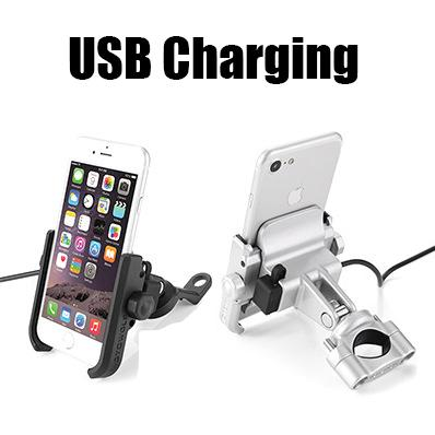 Chargeable Stainless Steel Universal Motorcycle Phone Holder With Stand Support Rearview GPS Bike Holder Soporte Celular Moto C18110801