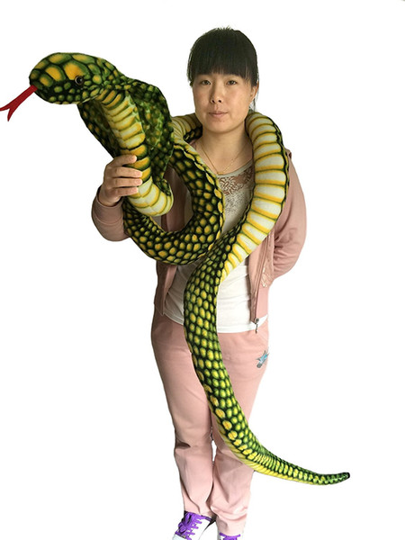 2018 Promotion 9 Foot Long Big Snake Stuffed Animal Plush toy Realistic Stuffed Giant Boa Constrictor Dolls,Green